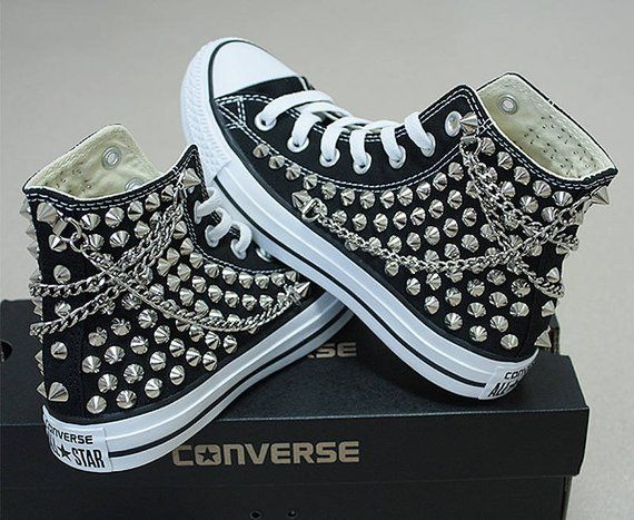 22150798a648 Genuine CONVERSE Black with studs   chains All-star Chuck Taylor ...