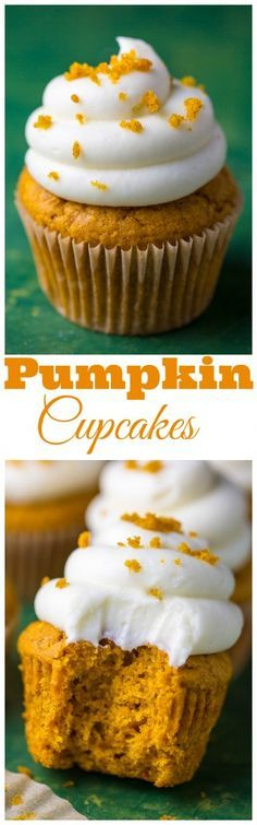 Fluffy and flavorful Pumpkin Cupcakes with Cream Cheese Frosting!