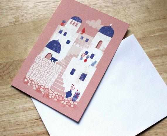 Santorini Greece // A6 blank greeting card by essillustration