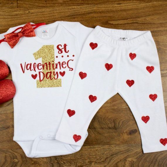 my first valentines day outfit my 1st valentines day onesie w red heart leggings - Infant Valentines Day Outfits