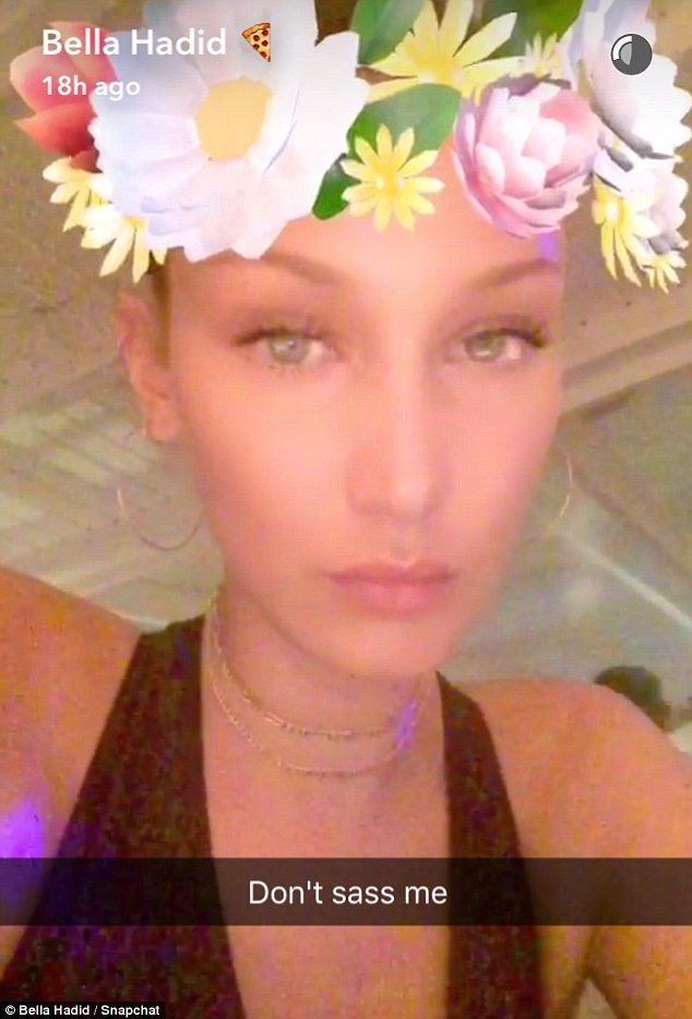 Getting up close: The Elle model also shared this image on Snapchat with the caption: 'Don...
