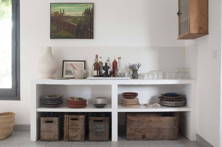 Ad hoc bar shelves at Mas Maroc, Amanda Pays Corbin Bernsen farmhouse in the South of France. Tim Beddow photo from Open House.