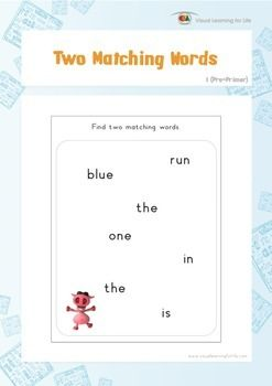 """In the """"Two Matching Words"""" worksheets, the student must find two of the same word within the box.  Available at www.visuallearningforlife.com on the Visual Perceptual Sight Words Builder 1 CD."""