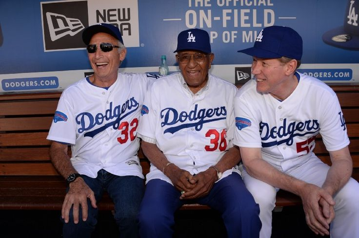 Dodger Cy Young Award Winners Sandy Koufax, Don Newcombe, and Orel Hershiser.