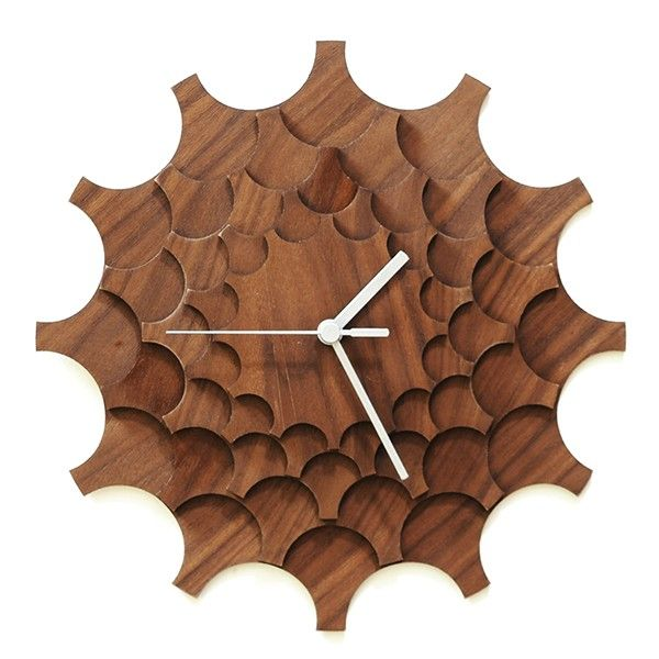 Cogwheel+Wall+Clock+-+Walnut+-+Tell+time+in+a+unique+and+charming+way+with+the+Cogwheel+Wall+Clock+by+Ardeola.+This+walnut+wood+designer+clock+is+made+of+five+layers+of+4mm+plywood+that+have+been+laser+cut+and+polished+by+hand.+Each+cog+layer+is+glued+so+that+the+teeth+of+the+cogs+alternated+between+each+layer…