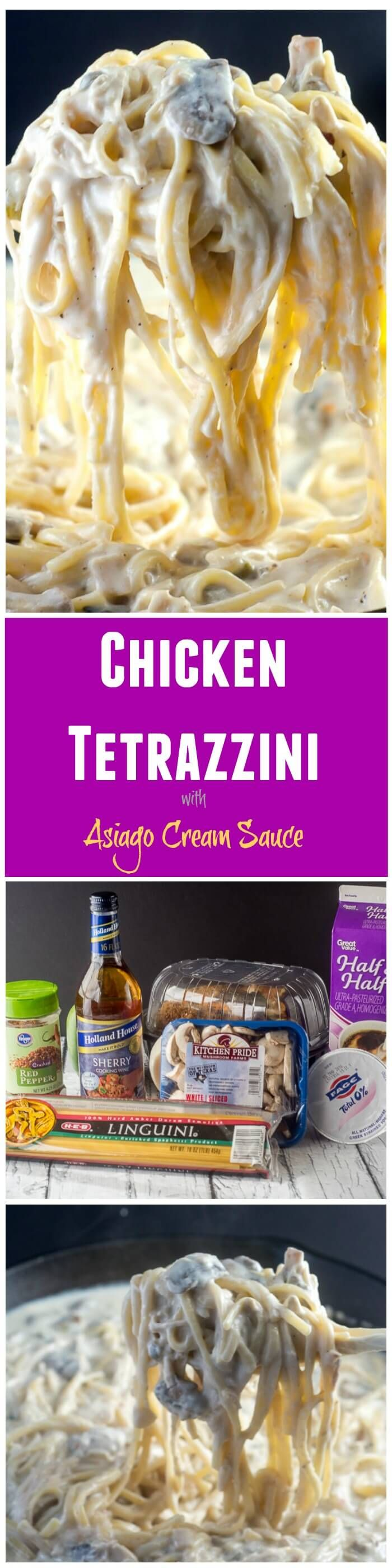 This Chicken Tetrazzini, with chicken (or turkey) in an asiago cream sauce with pasta, makes a delicious casserole, and is a great way to use up leftover chicken or turkey after a holiday. via @flavormosaic