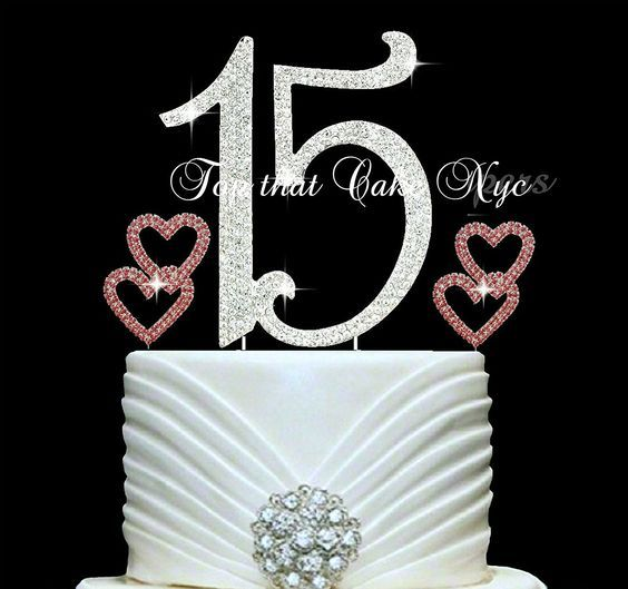 Lulu Sparkles LLC Quinceanera 15 Rhinestone Crystal Cake Topper 15 Birthday Anniversary Diamante Bling Monogram Numbers Cake Topper PINK Hearts Cake Picks ** Special product just for you. : Baking tools