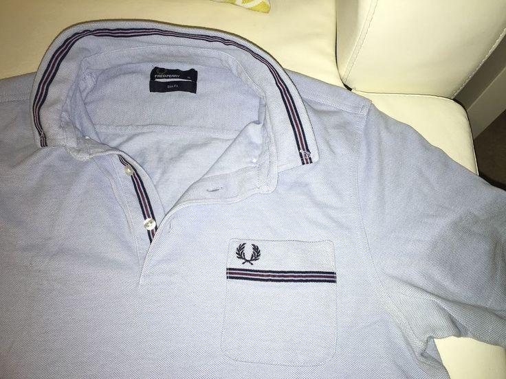 Genuine Fred Perry Mens Light Blue Polo Shirt Slim Fit XL