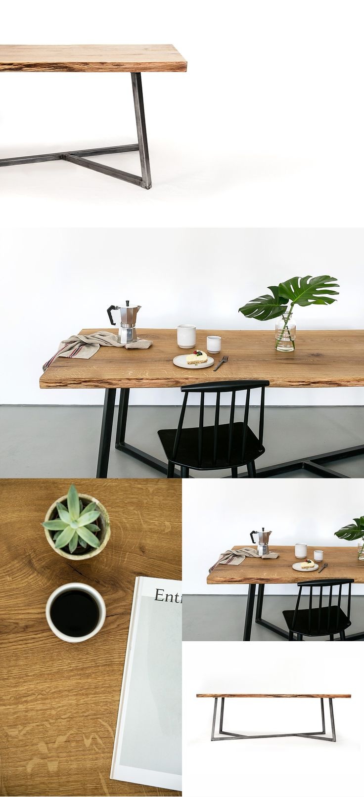 Oak Steel Table By Nutsandwoods Nutsandwoods Furniture