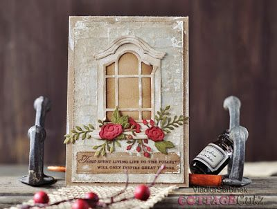 Vladka's card using stitched square, Victorian window, floral spray dies
