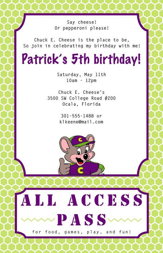 Best 20 Chuck e cheese ideas – Chuck E Cheese Birthday Party Invitations