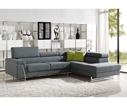 Style Of VIG Darby Divani Casa Modern Grey Fabric Sectional Sofa With Adjustable Headrest Photo - Luxury Sectional Fabric sofas Unique