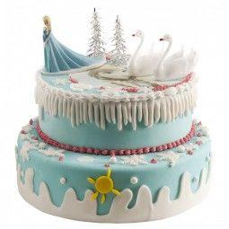 Tortendeko-Set Frozen, 5-tlg. - Für eine tolle Frozen Torte mit Prinzessin, schneebedeckten Tannen und zwei stolzen Schwähnen
