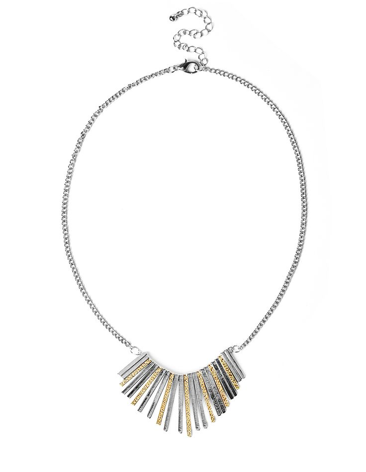 Mixed Metal Fringe NecklaceMixed Metal Fringe Necklace, Rhodium/Gold