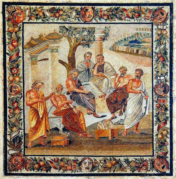 """La Academia de Platón"" #Pompeii | Mosaic from villa of T. Siminius Stephanus, 'Plato's academy', 1st century B.C."