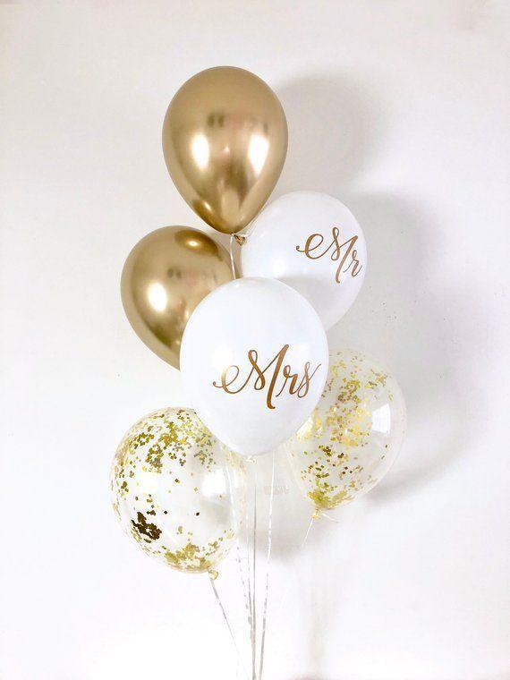 5x Ballons Mr /& Mrs Gold transparentHochzeits-deko Luftballons Gold