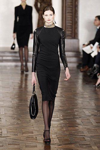 Ralp Lauren - Leather sleeved Megan Dress -  New York Autumn/Winter 2012-2013