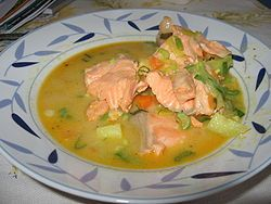 Lohikeitto is a creamy salmon soup and a common dish in Finland and other Nordic countries.