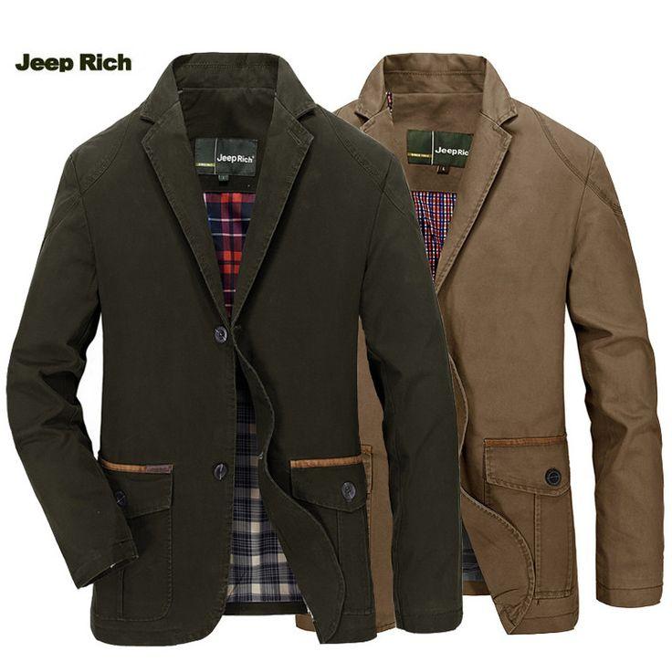 Jeep Rich® Men Spring Fall Cotton Blend Casual Buttons Jacket Coat Suit Outwear