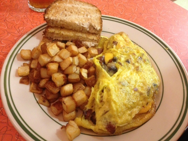 Omelet from Tin Goose Diner at the Liberty Aviation Museum in Port Clinton, Ohio.