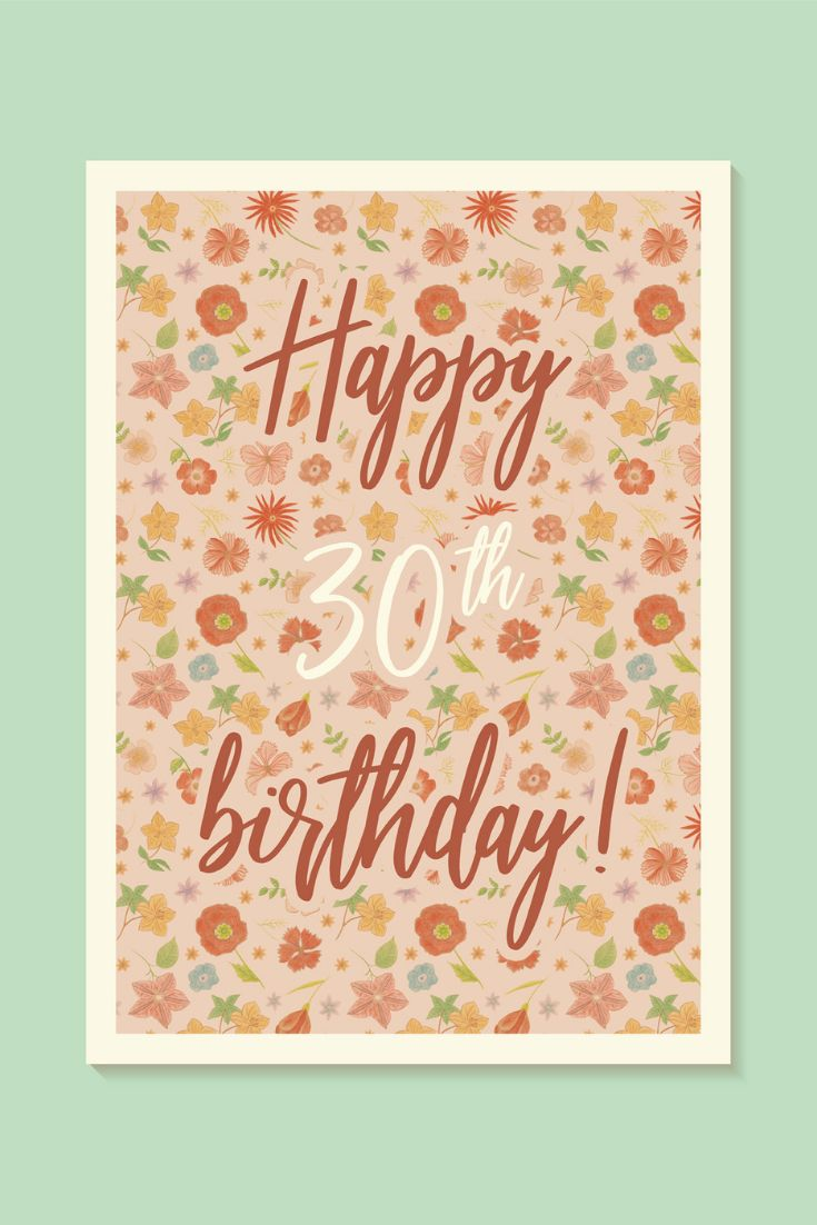30th birthday card for her printable card floral