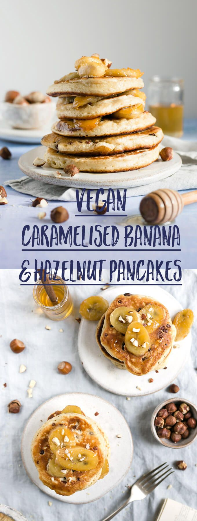 Super soft and fluffy hazelnut pancakes with caramelised bananas #vegan #pancakes #dairyfree | via @annabanana.co