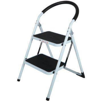 2 Tread Safety Non Slip Folding Step Ladder Stepladder Kitchen Stool:  Amazon.co.