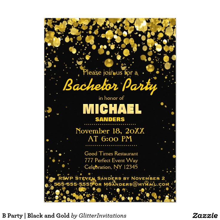 337 best bachelor party invitations and gifts images on pinterest b party black and gold 5x7 paper invitation card stopboris Gallery