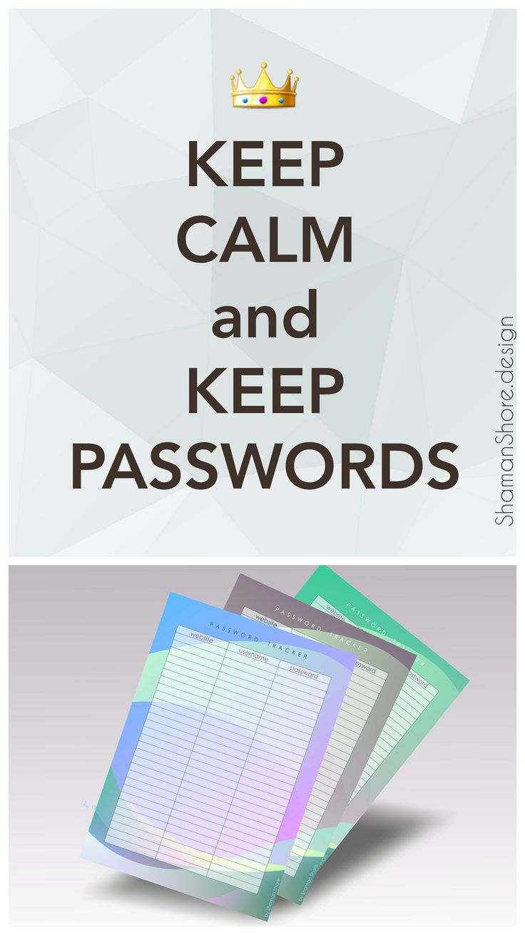 password organizer template
