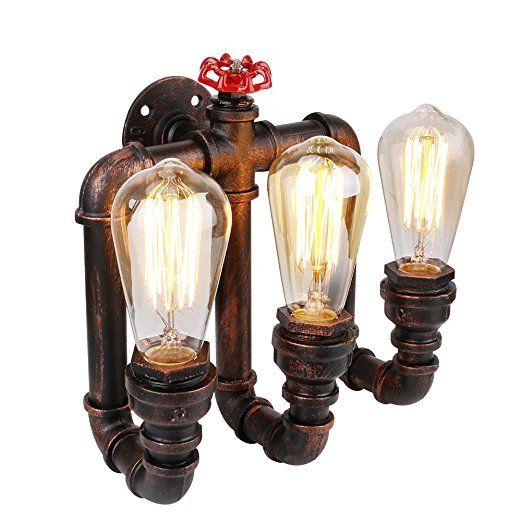 Linkax Vintage Wandleuchte Wandlampe Water Pipe Industrial 3 Lichter Wandleuchte Vintage Retro Wasser Rohr Licht Retro Industrie Wand Lampen Dekor Wandleuchte (Birnen nicht im Lieferumfang enthalten)