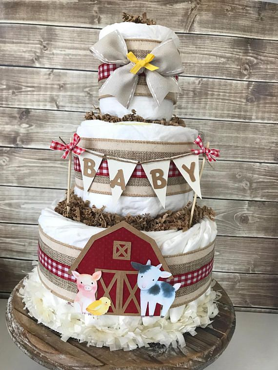 3 Tier Diaper Cake Barnyard Bash Farm Cow /& Chicken Baby Shower Centerpiece