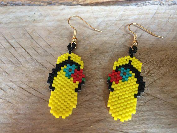 Native American Style Beaded Flip Flops Earrings Yellow