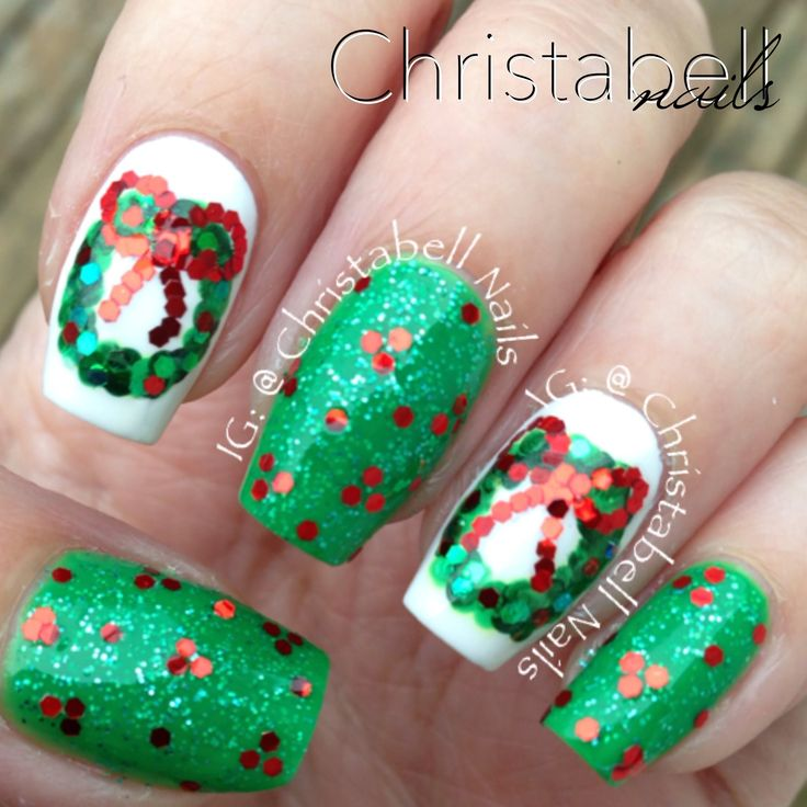 218 best christmas nails images on pinterest christmas nails christabellnails christmas wreath nails tutorial supplies needed are polish colors i used listed below plus base and top coat thin art brush prinsesfo Image collections