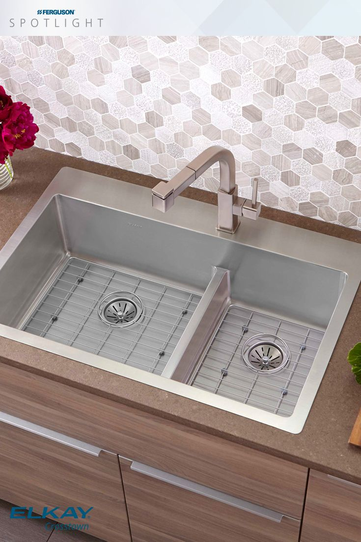 346 best ideas for the kitchen images on pinterest spotlight the crosstown kitchen sinks offer fresh geometric styling with straight sidewalls and a flat