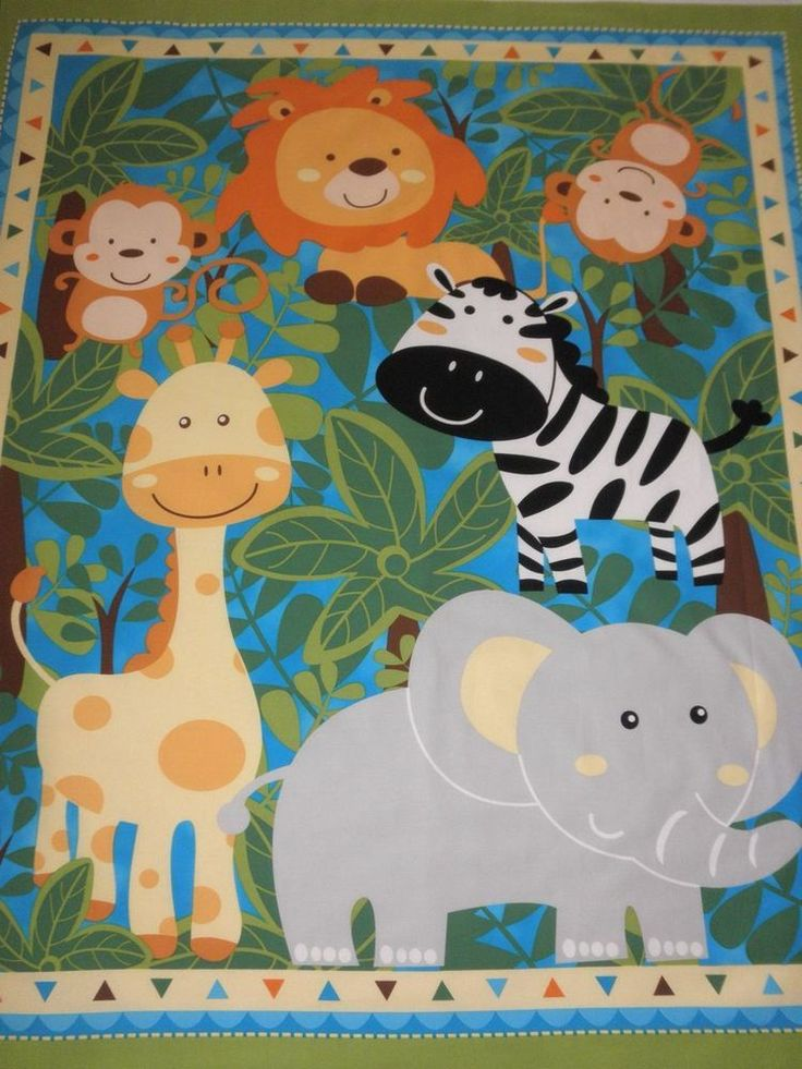 Baby Cot Panel Quilt Fabric Baby Jungle Animals In