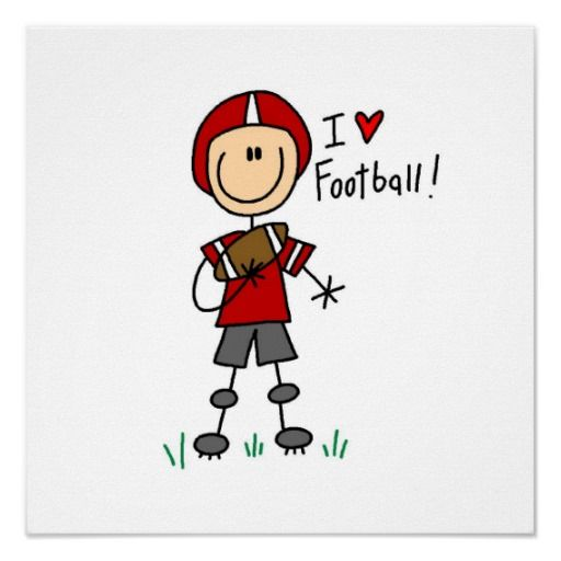 Football Player | stick figure football player with a football and helmet and text ...