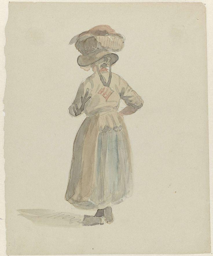 Adrianus Eversen   Figuurstudie van een vrouw met een mand op het hoofd, van achteren, Adrianus Eversen, 1828 - 1897   Figuurstudie van een op de rug geziene staande vrouw met een mand met waar op het hoofd.