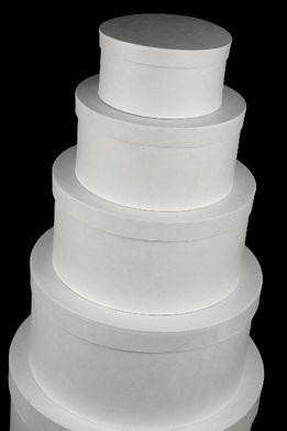 Round Paper Mache Boxes White   Set of 5
