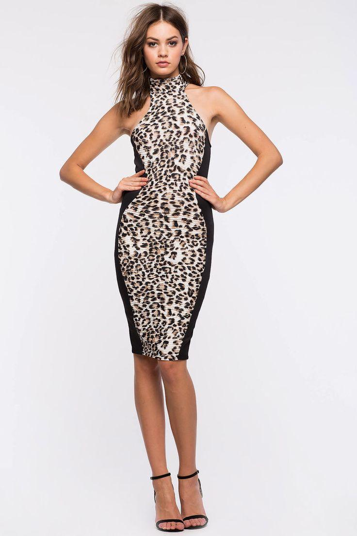Leah Mock Leopard Bodycon Dress