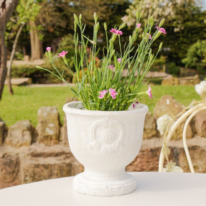 a fantastic addition to the home or garden this white plant pot features a decorative emblem design in a cream shade with an antique distressed finish