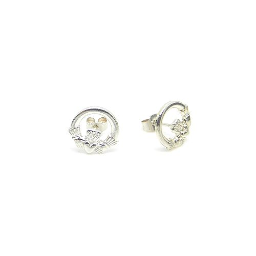 Sterling Silver Celtic Claddagh Studs from Lee Valley Ireland. Hand made in Ireland. 100% pure sterling silver.