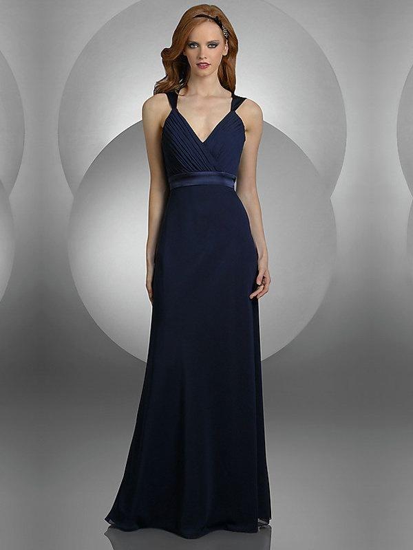Column Dark Navy V-neck Long Prom Dress With Belt