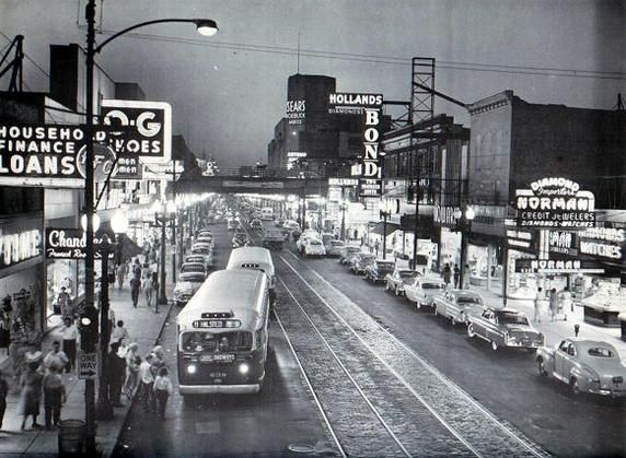 Halsted and 64th streets in the Englewood neighborhood of Chicago, IL in 1955 (CTA photo) | Chicago's Past | Historic Chicago
