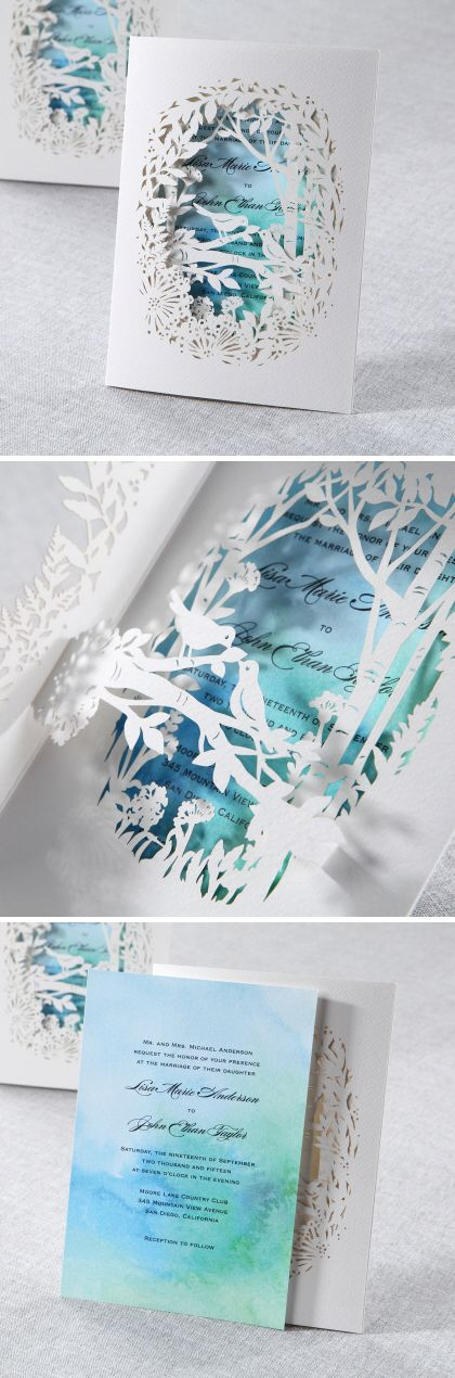 Amazing laser cut invitations from @bwedding || Scene pops out when opening!  A beautiful watercolor insert conveys sophistication || Perfect for your spring or summer wedding or a garden wedding