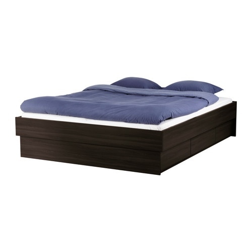 OPPDAL Queen Bed frame with drawers, black-brown  $299.00