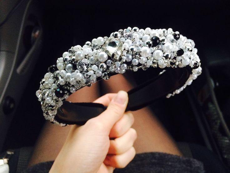 Купить Ободок с жемчужинами и большими стеклянными камнями - Ободок с камнями, ободок для невесты, диадема