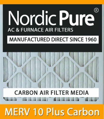 10x20x2 Nordic Pure MERV 10 Plus Carbon Air Filters Qty 6 by Nordic Pure. $102.00. 30-day Money-Back Satisfaction Guarantee!. Carbon Air Filter deodorizes and absorbs odor and household smells!. MERV 10 Plus Carbon Air Filter- Dual Media in one convenient air filter!. Free Shipping in the Continential USA!. Actual Size of Filter: 9 1/2 x 19 1/2 x 1¾. Nordic Pure is now offering MERV Plus Carbon air filters. The electrostatic MERV Plus Carbon air conditioning filter has a ...