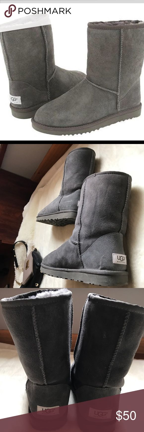 Grey UGG boots Grey UGG boots. Only worn a couple times in great condition. I will be cleaning them before shipping them just to make sure they're perfect for the new owner. UGG Shoes Winter & Rain Boots