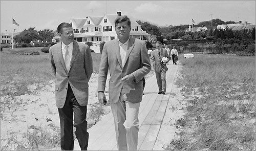 JFK at The Kennedy Compound July 8, 1961 walks with Secretary of Defense Robert McNamara toward the beach.