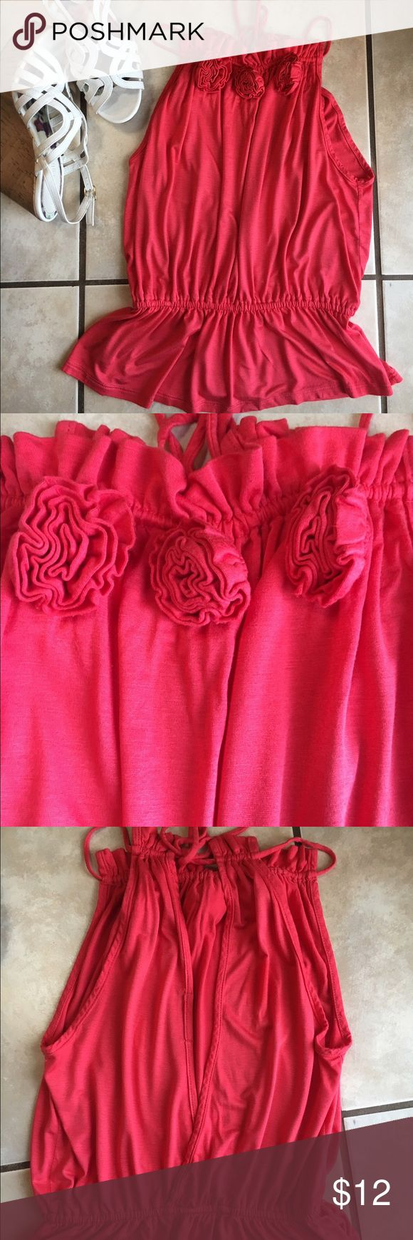 Adorable Open-Back Boutique Rosette Top I SHIP SAME OR NEXT DAY!! Worn once, ties behind neck, embellished with rosettes at neck, flattering fit, bought at boutique Tops Blouses
